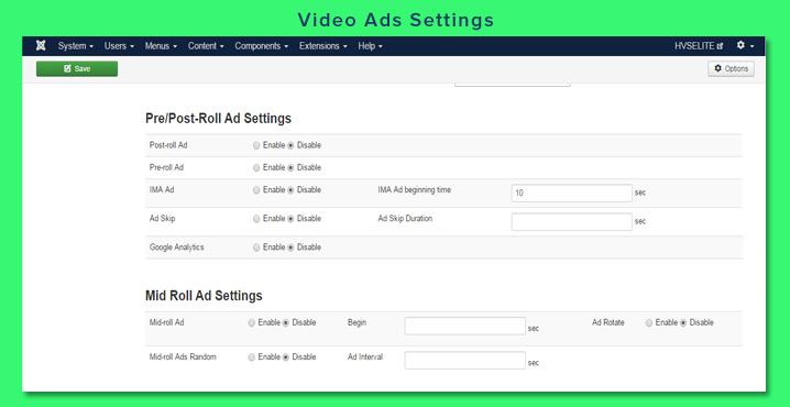 Video Ads Settings